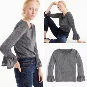 J.Crew Sparkle Bell-sleeve Top In Charcoal Silver